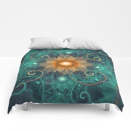 Beautiful Tangerine Orange and Teal Lotus Fractals Comforters
