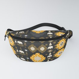 Ethnic winter pattern with little bears Fanny Pack