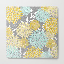 Floral Prints and Leaves, Gray, Yellow and Aqua Metal Print