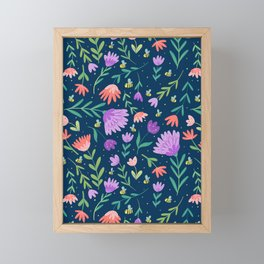 Flowers + Bees Framed Mini Art Print