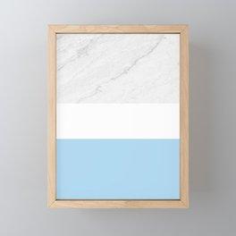 Marble White Light Blue Framed Mini Art Print
