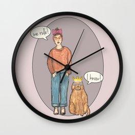 we rule! pink Wall Clock
