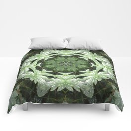 Tropical Twist - Green Leaves Kaleidoscope, Mandala Comforters