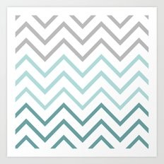 THIN TEAL CHEVRON FADE  Art Print