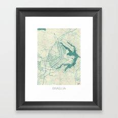 Brasilia Map Blue Vintage Framed Art Print