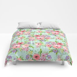 Blooming floral bouquet watercolor hand paint Comforters