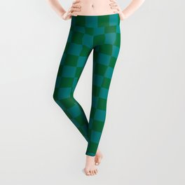 Teal Green and Cadmium Green Checkerboard Leggings