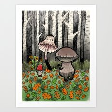 Mushroom Meeting Art Print