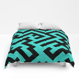 Black and Turquoise Diagonal Labyrinth Comforters