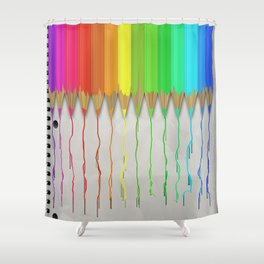 Melting Rainbow Pencils Shower Curtain