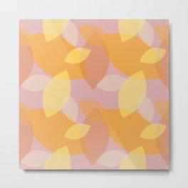 Leafy Wonder 4 - Lavender Lilac Yellow Peach Orange  Metal Print