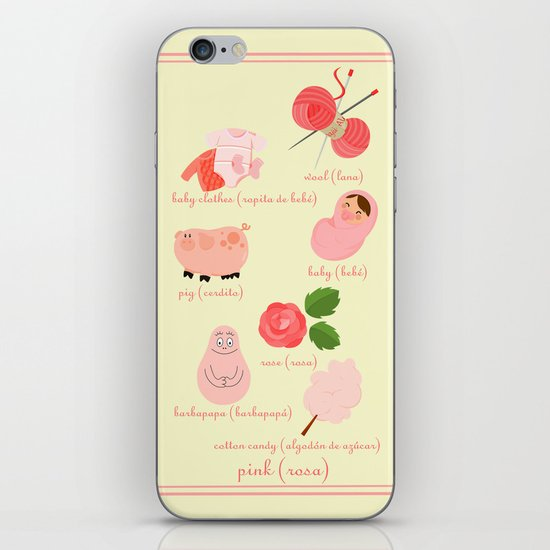 Colors: pink (Los colores: rosa) iPhone & iPod Skin