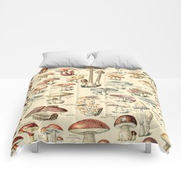 Trippy Vintage Mushroom Chart // Champignons by Adolphe Millot XL 19th Century Science Artwork Comforters