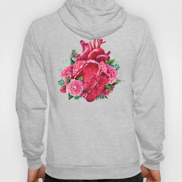Watercolor heart with floral design Hoody