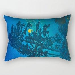 Vintage Japanese Woodblock Print Kawase Hasui Haunting Tree Silhouette At Night Moonlight Rectangular Pillow