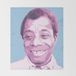 James Baldwin Portrait Blue Purple Throw Blanket