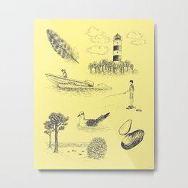 Seaside Town Toile Pattern (Yellow and Dark Blue) Metal Print