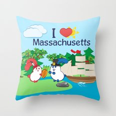 Ernest and Coraline | I love Massachusetts Throw Pillow