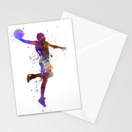 basketball player one hand slam dunk silhouette Stationery Cards