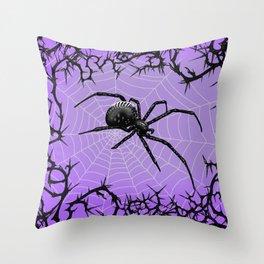 Briar Web- Purple Throw Pillow