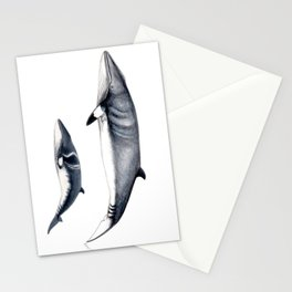 Minke whale with baby whale Stationery Cards