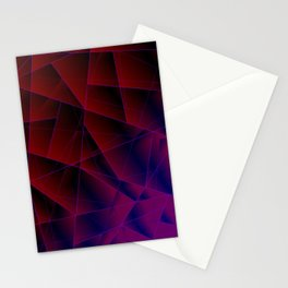 Abstract strict pattern of burgundy and overlapping purple triangles and irregularly shaped lines. Stationery Cards