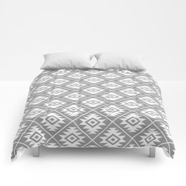 Aztec Symbol Pattern White on Gray Comforters