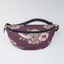 Burgundy Flower Pattern with Pink Flowers Fanny Pack