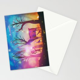 Girl meeting magical forest animals Stationery Cards