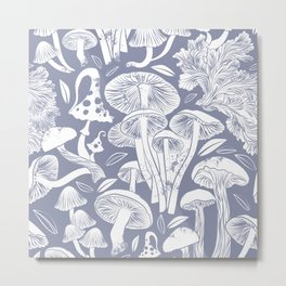 Delicious Autumn botanical poison IV // blue grey background Metal Print