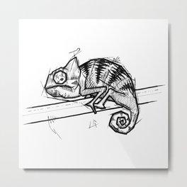 Chameleon Handmade Drawing, Made in pencil and ink, Tattoo Sketch, Tattoo Flash, Blackwork Metal Print