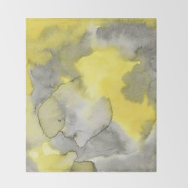 Hand painted gray yellow abstract watercolor pattern Throw Blanket