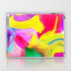 Modern bright neon psychedelic abstract brushstrokes paint Laptop & iPad Skin