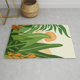 Summer In the Jungle / Contemporary Sunset Scene Rug