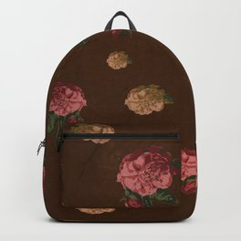 Vintage Floral Pattern with Brown Background - Grained Texture Backpack