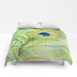 Abstract Peacock Feather Watercolor Comforters