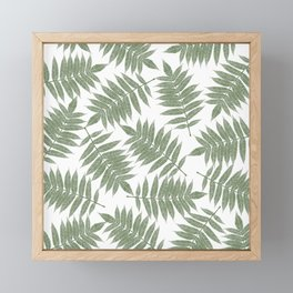 Hand painted forest green tropical leaves pattern Framed Mini Art Print