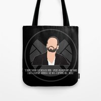 agents of shield Tote Bags featuring Agents of S.H.I.E.L.D. - Hunter by MacGuffin Designs