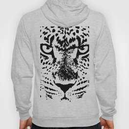 Black and White Leopard Big Wild Cat Hoody