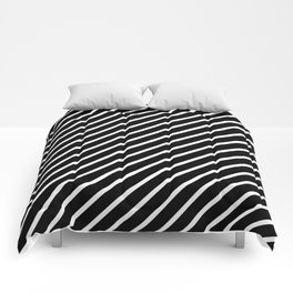 Black and White Diagonal Tight Stripes Comforters