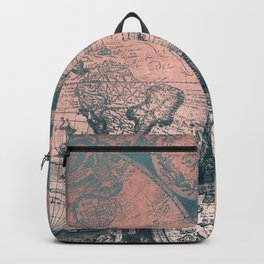 Vintage World Map Rose Gold and Storm Gray Navy Backpack