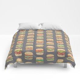 Hamburgers Junk Food Fast food on Dark Grey Comforters