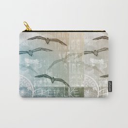 Free Like A Bird Seagull Mixed Media Art Carry-All Pouch