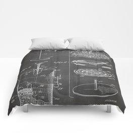 Coffee Filter Patent - Coffee Shop Art - Black Chalkboard Comforters