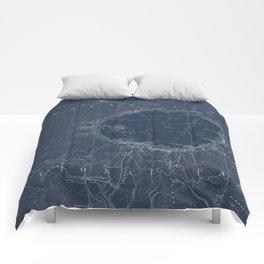Crater Lake Blueprint Map Design Comforters
