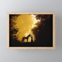 Magical Forest with a Lady and a Unicorn Framed Mini Art Print
