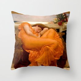 FLAMING JUNE - FREDERIC LEIGHTON (RESTORED) Throw Pillow