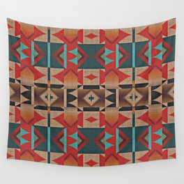 Native American Indian Tribal Mosaic Rustic Cabin Pattern Wall Tapestry