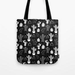 Black & White Cactus Doodle Pattern Tote Bag
