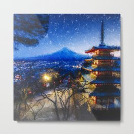 Temple and Mount Fujiyama - Digital Oil Painting Metal Print